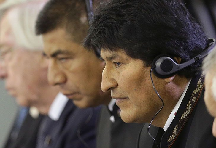 Bolivia President Evo Morales listens in on talks at the Mercosur Summit in Brasilia in December, 2017.