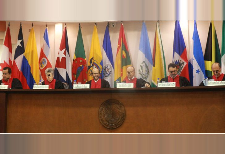 The judges of the Inter-American Court of Human Rights, as seen in this file photo from November 2017.