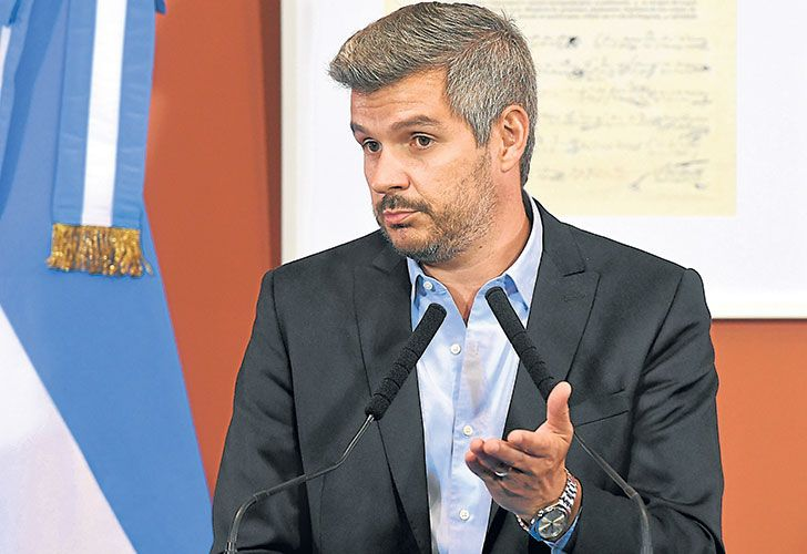 Cabinet Chief Marcos Peña at a press conference this week.