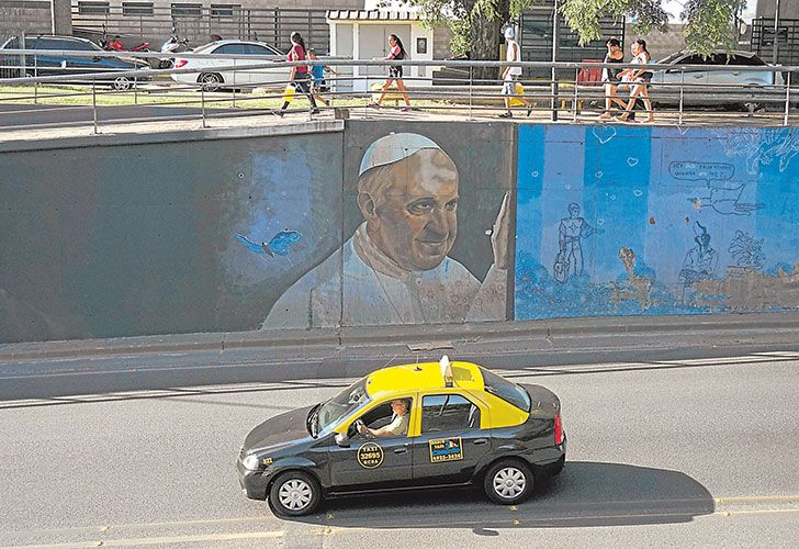 A view of a graffiti depicting Pope Francis in the nation's capital.