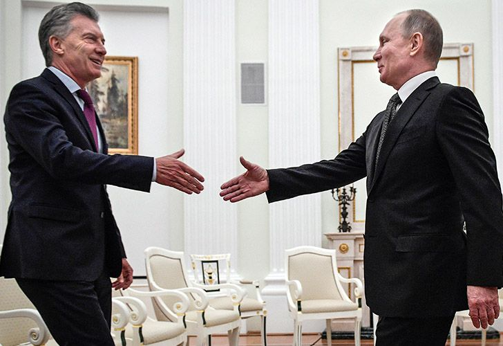 Argentina's President Mauricio Macri meets Russia President Vladimir Putin at the Kremlin on Monday January 22, 2018.