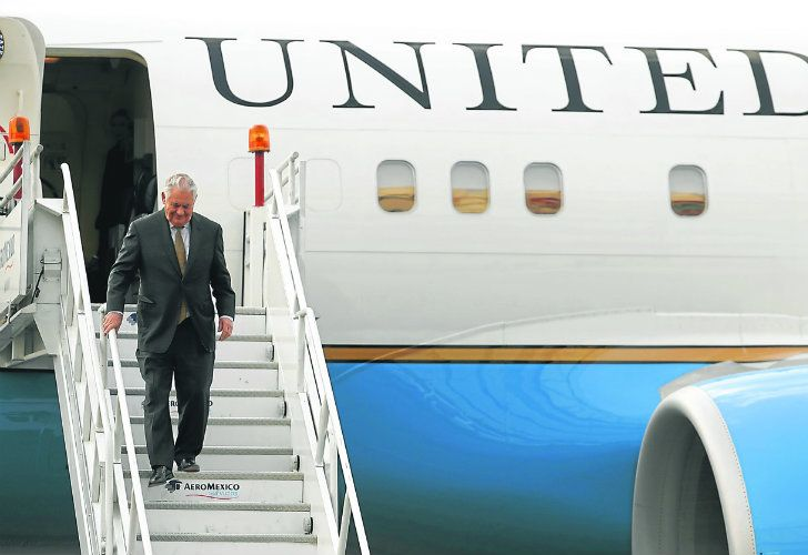 US Secretary of State Rex Tillerson arrives in Mexico City on Thursday.