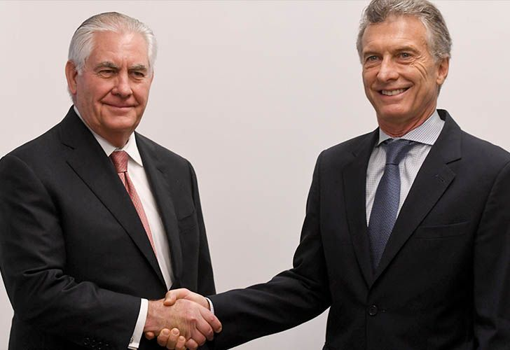 US Secretary of State Rex Tillerson and Argentina's President Mauricio Macri.