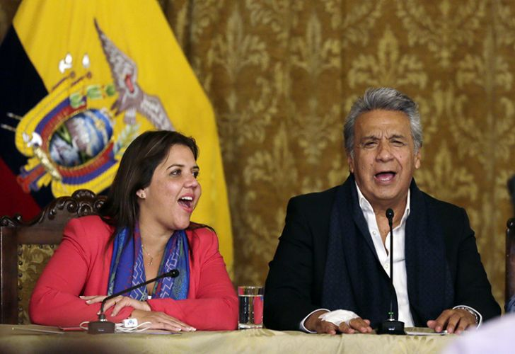 Ecuador's President Lenin Moreno, right, and vice president Alejandra Vicuna sing as they celebrate that his proposal of Referendum has been approved by Ecuadoreans in Quito, Ecuador.