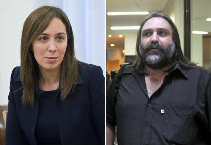 Buenos Aires Province Governor Maria Eugenia Vidal and SUTEBA teachers' union boss Roberto Baradel.