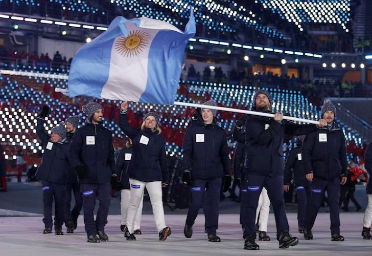 The Argentine team for the 2018 Winter Olympics in Pyeongchang, South Korea walks out during the opening ceremony on February 9.