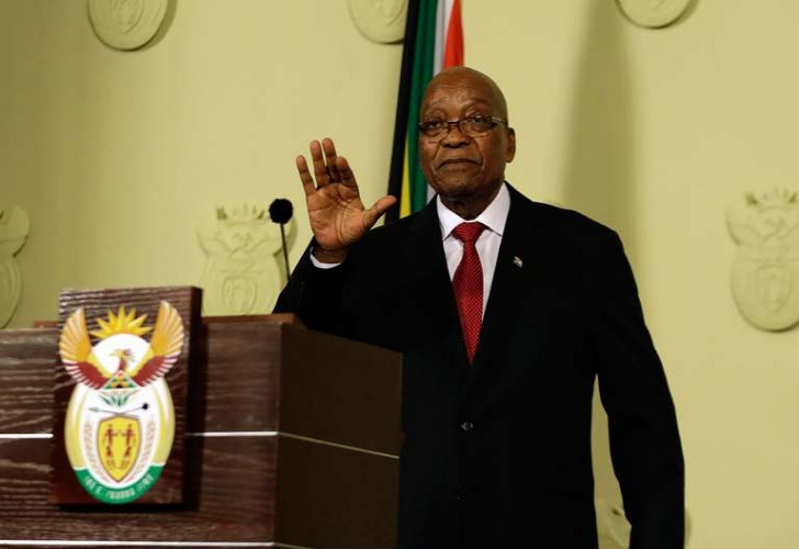 South African President Jacob Zuma addresses the nation and press at the government's Union Buildings in Pretoria.