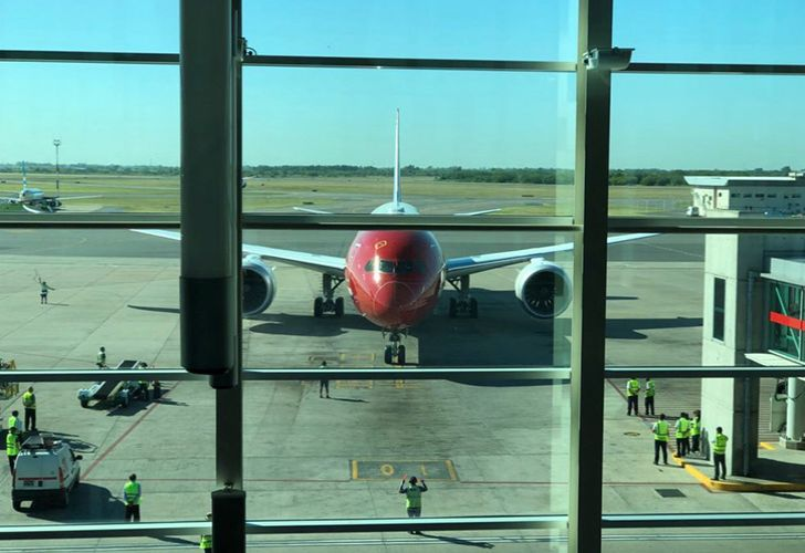 The first Norwegian Air flight from London arrives at Ezeiza International Airport in Buenos Aires.