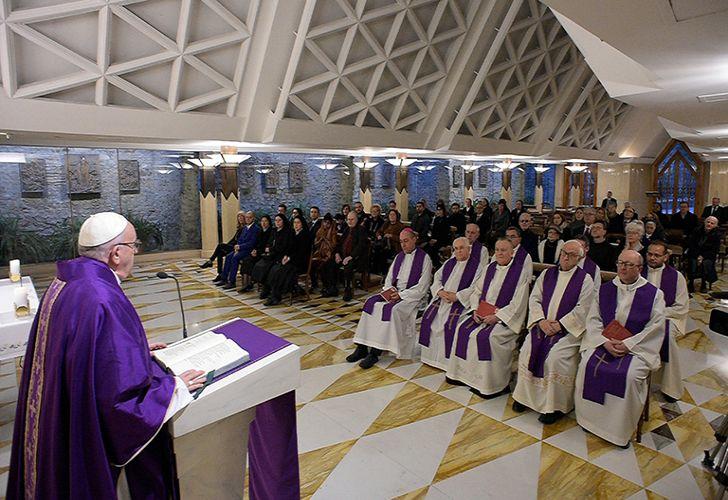 Pope Francis celebrates Mass at the Santa Marta chapel at the Vatican.