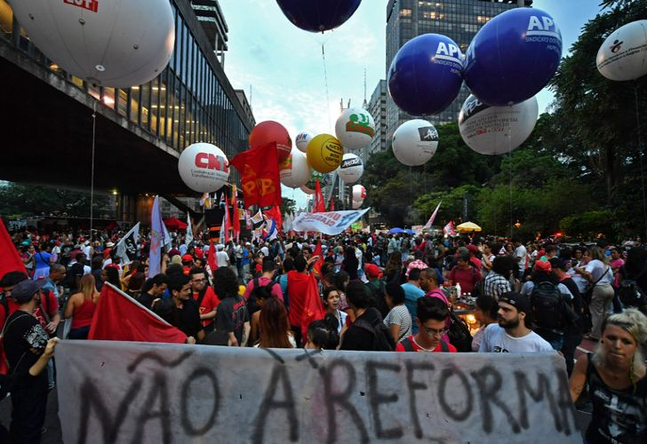 Demonstrators take part in a protest against the social welfare reform bill introduced by President Michel Temer government which seeks to extend the years of contributions and raise the minimum age for retirement, in São Paulo, Brazil, earlier this month.