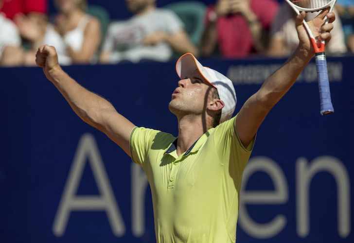 Austria's Dominic Thiem celebrates defeating Slovenia's Aljaz Bedene during the ATP Argentina Open final match in Buenos Aires, Argentina on Sunday.