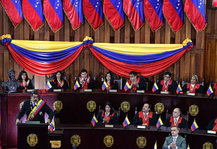 Venezuelan President Nicolás Maduro speaks during a ceremony in the opening of the judicial year at the Supreme Court in Caracas last week.