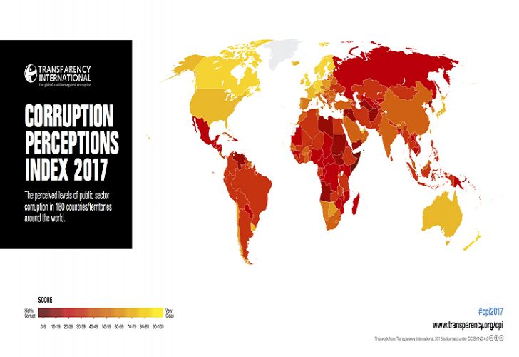 Graphic representation of the 2017 Corruption Perceptions Index