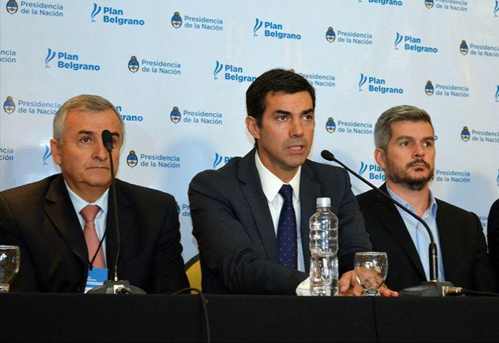 Jujuy governor Gerardo Morales (left), Salta governor Juan Manuel Urtubey (centre) and Cabinet Chief Marcos Peña.