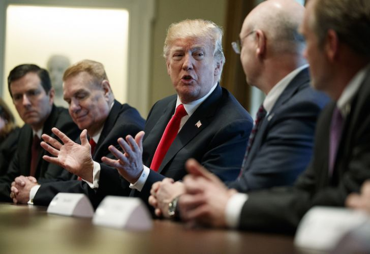 US President Donald Trump speaks during a meeting with steel and aluminum executives in the Cabinet Room of the White House on Thursday.