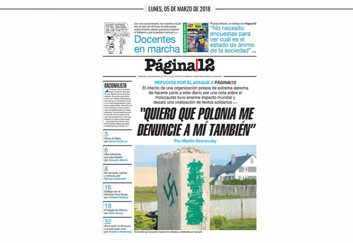 The frontpage of Pagina|12 on Monday.