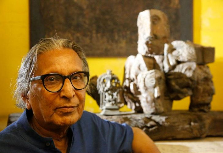 India's Balkrishna Doshi, winner of the 2018 Pritzker Architecture Prize, poses at his home in Ahmadabad, India on Wednesday.