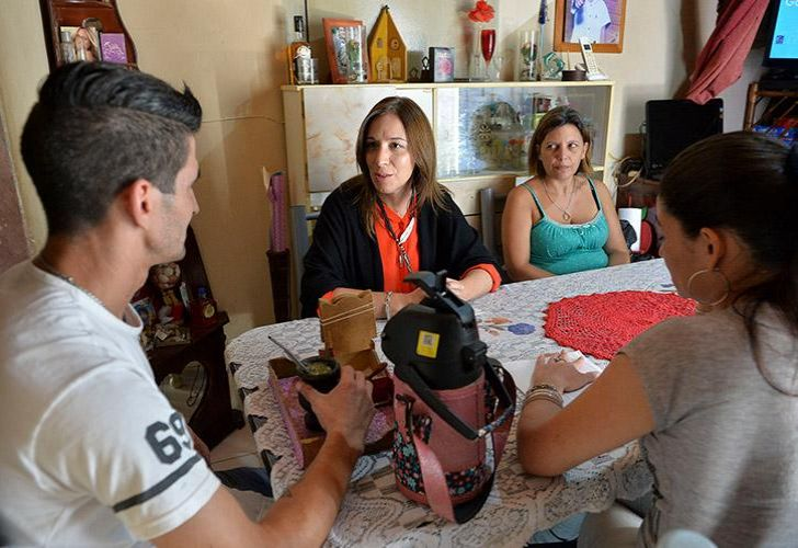 Buenos Aires province Governor María Eugenia Vidal meets with residents during a round of door-knocking.