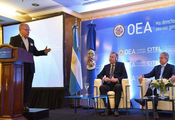 Foreign Minister Jorge Faurie delivers a speech during an event on telecommunications in the Americas organised by the Organisation of American States (OAS).