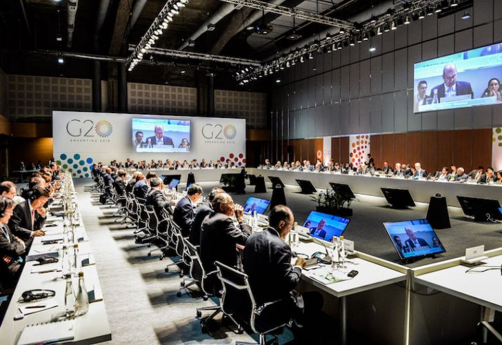 Finance ministers and central bank governors from the G20 nations meet in Buenos Aires on Monday.