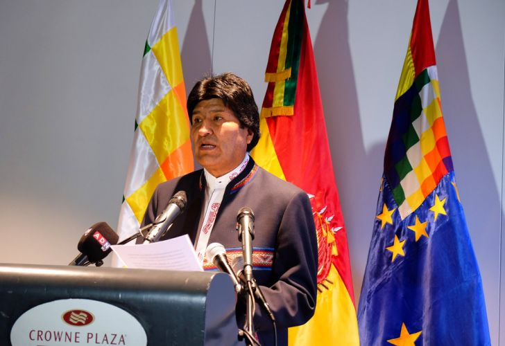 Bolivian President Evo Morales speaks to the media after a hearing at the International Court of Justice in The Hague, Netherlands on Tuesday.