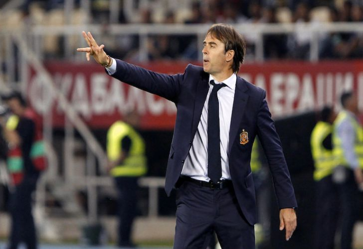Spain national team head coach Julen Lopetegui gives instructions to his players during their World Cup qualifying soccer match against Macedonia in Skopje, Macedonia last June.