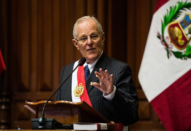 In this file photo taken in 2017, Peru's President Pedro Pablo Kuczynski delivers a speech during Independence Day celebrations, at the National Congress in Lima.