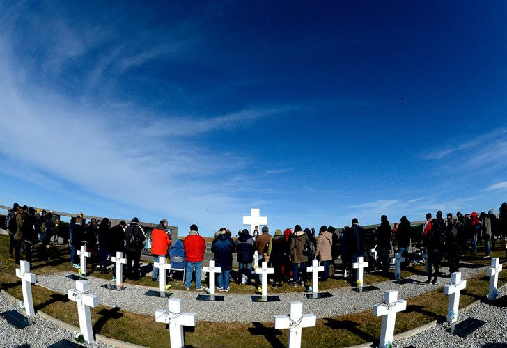 Relatives visit the final resting place of fallen Argentine soldiers on the Malvinas (Falklands) Islands.