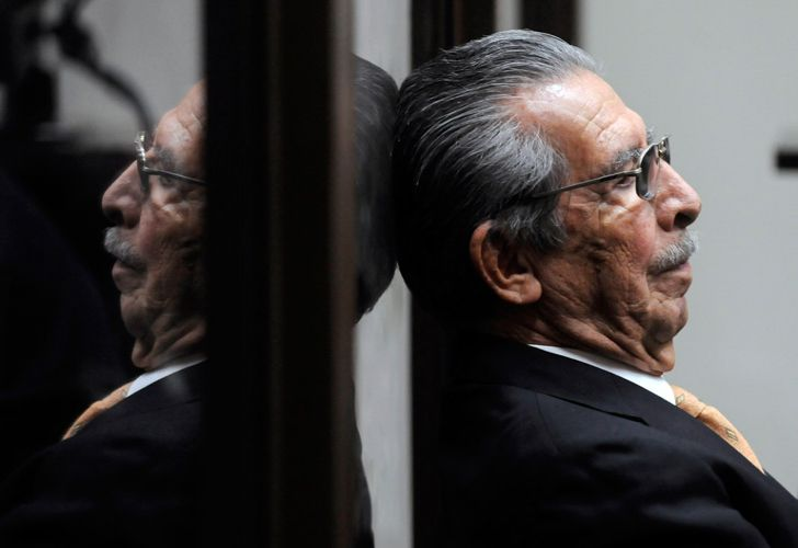 In this file picture taken on January 31, 2013, former Guatemalan de facto president and retired General Jose Efrain Rios Montt sits during a court hearing in Guatemala City. Efrain Rios Montt, a former military dictator who ruled Guatemala between 1982 and 1983 and who was facing retrial on genocide charges, died Sunday aged 91.
