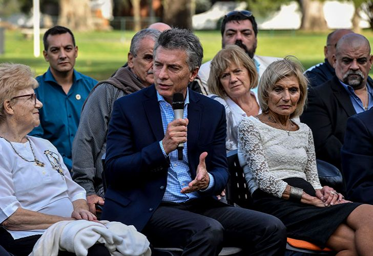 President Mauricio Macri with relatives of the Argentine soldiers who died in the 1982 Malvinas Islands War.