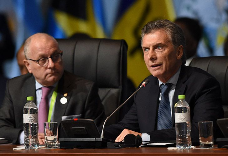President Mauricio Macri speaks during the plenary session of the Eighth Americas Summit in Lima, on April 14, 2018.