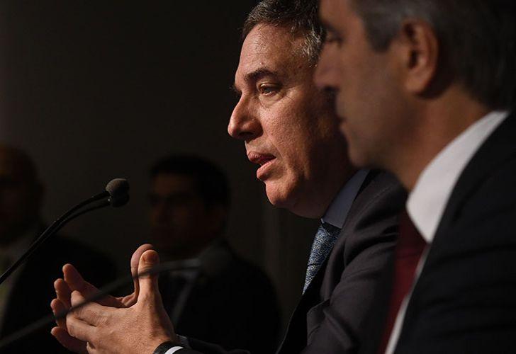 Treasurer Nicolás Dujovne speak during a press conference.