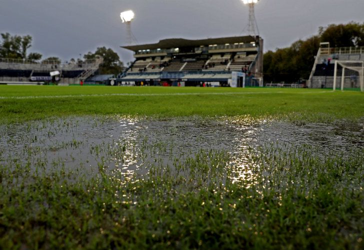 The flooded soccer field of Juan Carmelo Zerillo stadium in La Plata, after referee Facundo Tello called off the game between Gimnasia against Boca Juniors.