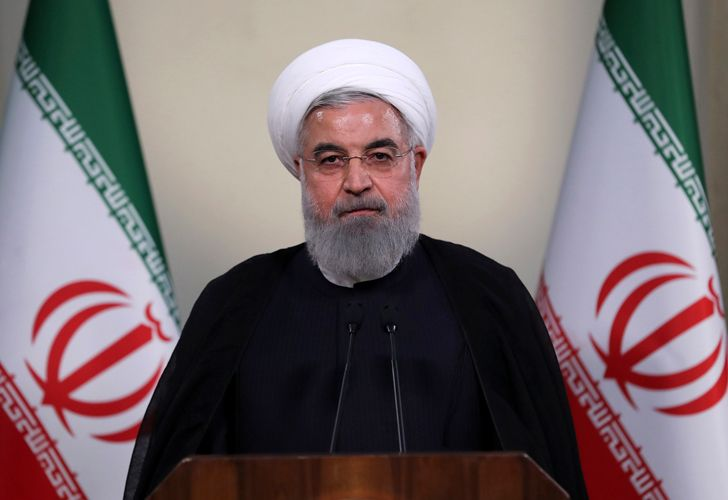 President Hassan Rouhani addresses the nation in a televised speech in Tehran, Iran, Tuesday, May 8, 2018