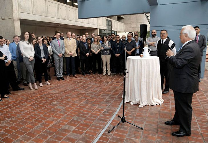 US Ambassador to Argentina Edward Prado addresses Embassy staff upon his arrival to Buenos Aires in May, 2018.
