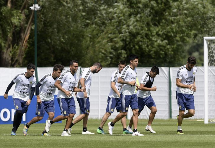Argentina's players take part in training session at the team's base camp in Bronnitsy, near Moscow.
