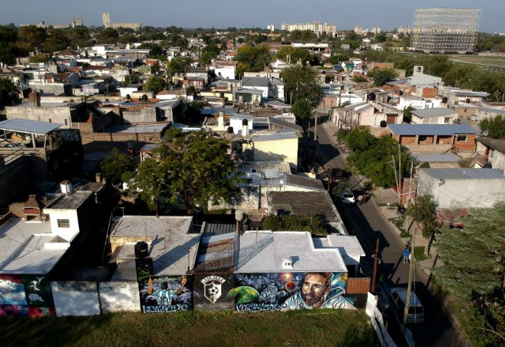 A mural of Lionel Messi covers a residence one block from his childhood home in La Bajada, Rosario.