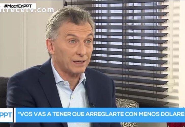 President Mauricio Macri speaks with journalist Jorge Lanata on Sunday June 17, 2018.