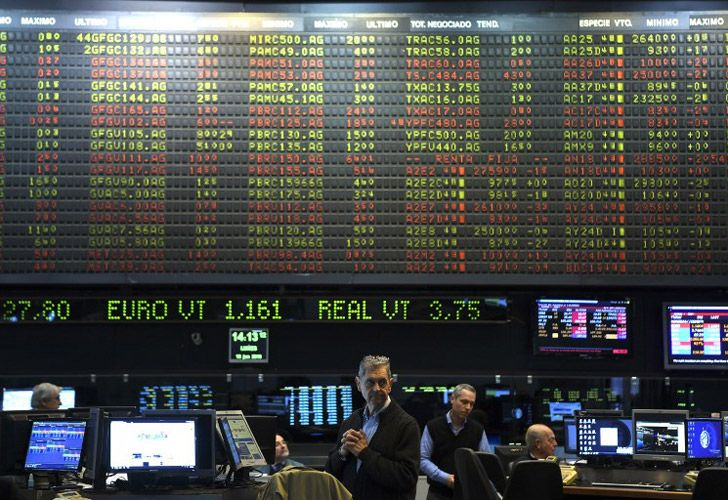 Traders on the floor of the Buenos Aires Stock Exchange.