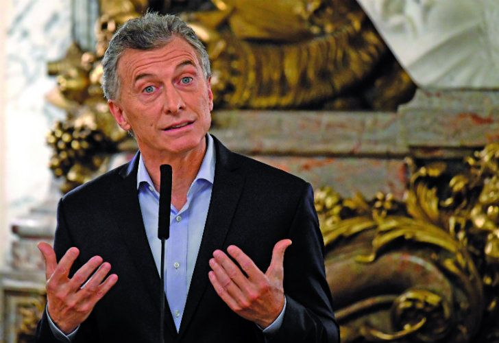 President Mauricio Macri gives a press conference on Thursday at the Casa Rosada.