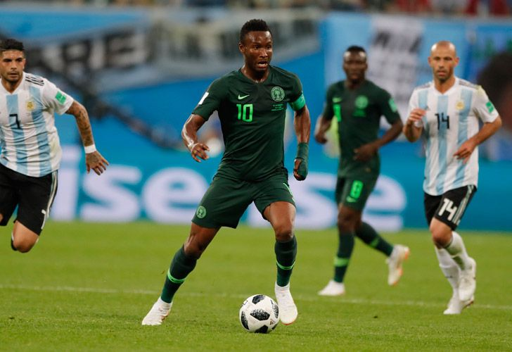 Nigeria captain John Obi Mikel controls the ball during the match between Argentina and Nigeria at the World Cup in Russia.
