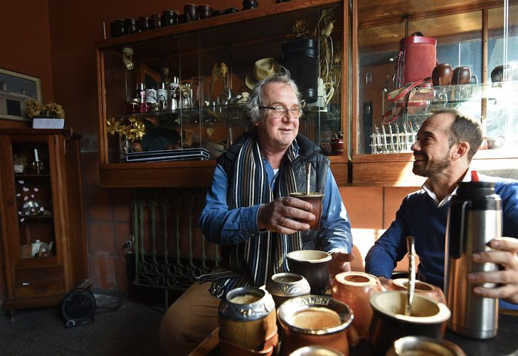 Jorge Francisco (right) and Federico Bresciani, manager and owner of traditional handmade silverware store Bresciani, drink mate at their store in Montevideo. Bresciani has made mates for several footballers, including Lionel Messi, Luis Suárez, Edinson Cavani and Diego Godín and Frenchman Antoine Griezmann.