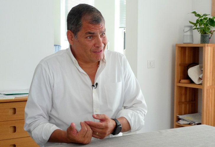 Rafael Correa, pictured during an interview with The Associated Press at his family home close to Brussels, Belgium.