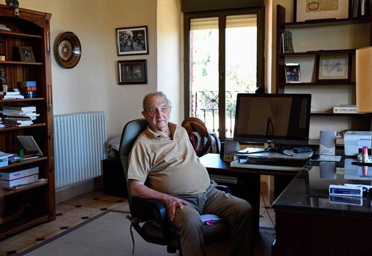 Nicolás Sánchez-Albornoz poses in his house in Avila, near Madrid.