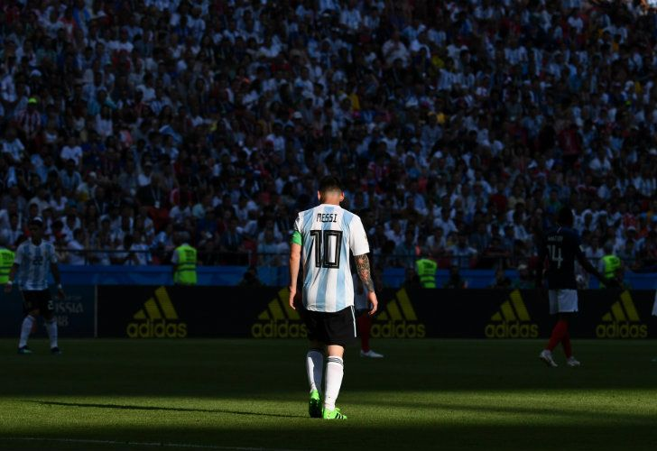 Dejected, captain Lionel Messi leaves the pitch after Argentina's 4-3 defeat to France last weekend.