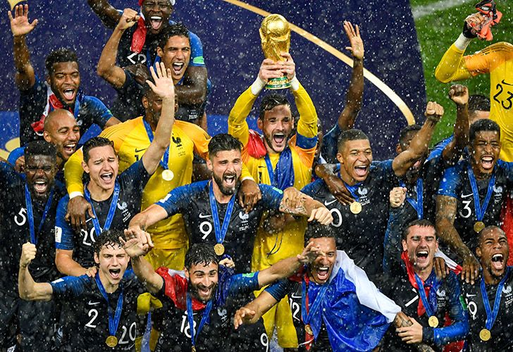 Captain Hugo Lloris holds the World Cup trophy aloft as France celebrate winning the title, after defeating Croatia 4-2 at the Luzhniki Stadium in Moscow on July 15, 2018.