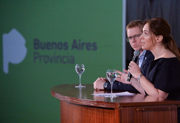 Buenos Aires Province Governor María Eugenia Vidal (right) speaks at a press conference.