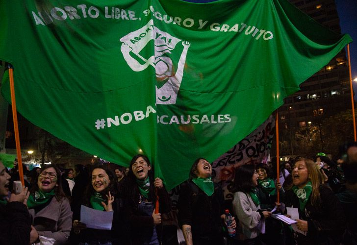 Demonstrators take part in a march for a legal, safe and free abortion in Santiago, Chile, on Wednesday.