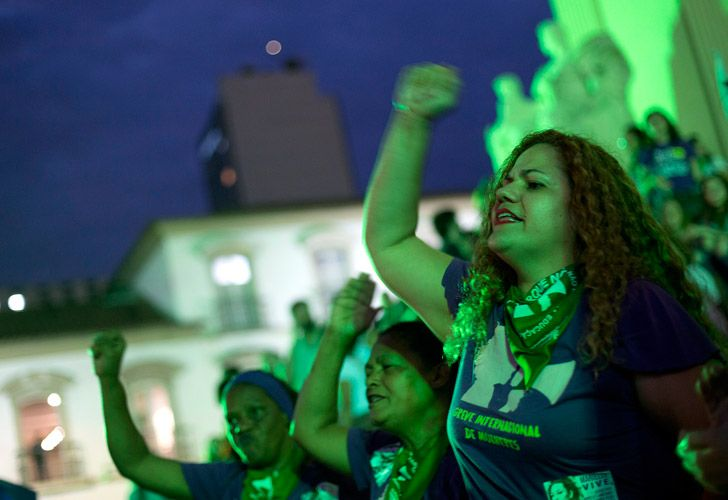 In this June 2018 photo, women take part in a protest demanding the legalisation of abortion, in Rio de Janeiro, Brazil. Supporters and opponents of legalising abortion began testifying on Friday in front of Brazil's top court, which is holding two days of extraordinary hearings on the issue.
