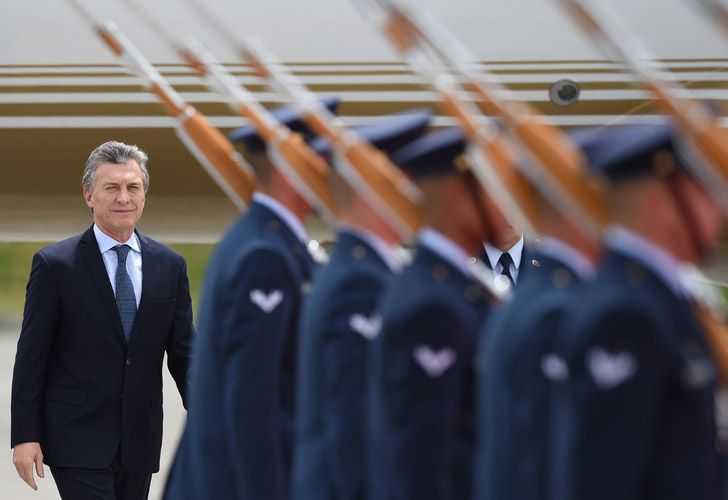President Mauricio Macri arrivesat the CATAM military airport in Bogotá, where he will attend Colombia's President Ivan Duque swearing-in ceremony.